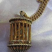 Unique Bird Swinging in Cage Gold tone Pendant Secret Compartment Vintage Necklace