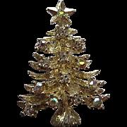 Eisenberg Ice Signed Sparkling Clear AB Swarovski Crystals Sparkling Silver tone Christmas Tree Vintage Brooch Pin