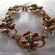 Signed Coro Four Leaf Clover Shamrock Gold plated Cornflower Blue Swarovski Rhinestone Vintage Bracelet