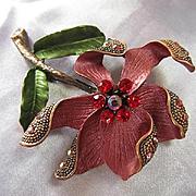 Gorgeous Rose Enamel Flower Figural Red Swarovski Crystals Copper color Vintage Brooch Pin
