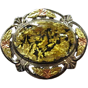 Fabulous Signed Sterling Black Hills Gold Mixed Metals Lucite Cab Gold Flakes Unique Vintage Brooch Pin