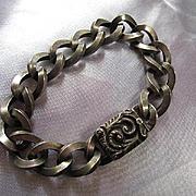 Wonderful Older Fancy Clasp Sterling Silver Twisted Link Vintage Bracelet