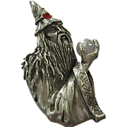 Huge Signed Pewter Wizard Sorcerer with Crystal Ball Vintage Brooch Pin