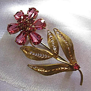 Beautiful Signed Czech Raspberry Pink Crystal Rhinestone Vermeil Hand Wired Flower Vintage Brooch Pin