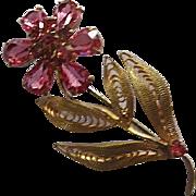Beautiful Signed Czech Raspberry Pink Crystal Rhinestone Vermeil Hand Wired Flower Vintage Brooch Pin