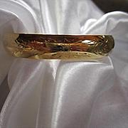 Beautiful Hand Engraved Gold Filled Vintage Bangle Bracelet