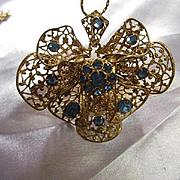 Gorgeous Signed Czech Filigree Cornflower Blue Crystal Rhinestones Vintage Pendant Necklace