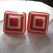 1960s Red White Lucite Pyramid Fun Funky Candy Stripe Vintage Pierced Earrings