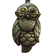 Signed Wise Old Owl Pewter Pendant Topaz Glass Cabochon Eyes Articulated Moveable Eye Glasses Vintage Pendant Necklace