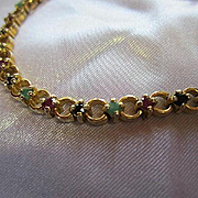 Wonderful Marked Sterling Silver Gold Vermeil Rubies Emeralds Onyx Vintage Bracelet