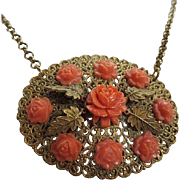Fabulous Carved Coral Celluloid Roses Czech Rolo Chain Vintage Statement Necklace