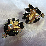Stunning Black Navettes AB Swarovski Crystal Rhinestones Quality Vintage Clip Earrings