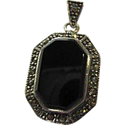 Classic  Art Deco Design Octagonal Onyx Marcasite Sterling Silver Vintage Pendant