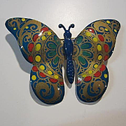 Beautiful Signed Hand Painted Enamel Butterfly Vintage Brooch Pin.