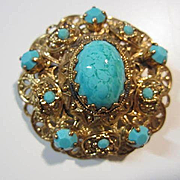 Gorgeous Czech Turquoise Blue Cabochons Mint Vintage Brooch Pin