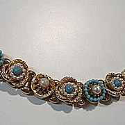 Gorgeous Victorian Style fx Turquoise and Pearl Book Link Vintage Bracelet
