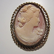 Gorgeous Large Carved Shell Cameo Bezel Set Gold Filled Filigree Braided Frame Vintage Brooch Pendant Pin