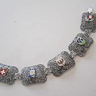 Rare Eloxal Tourist Souvenir Enameled Sweiz Garmisch Tirol Flowers Shields Ski Resorts Vintage Bracelet
