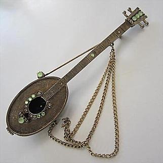 Rare Signed R. Mandle Italian Mandolin Detailed Huge Statement Vintage Brooch Pin
