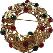 Gorgeous  Christmas Wreath Swarovski Red Green Crystals Gold Plated Vintage Brooch Pin