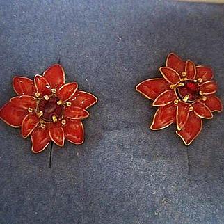 Signed Poinsettia Enamel Holiday Vintage Earrings Posts