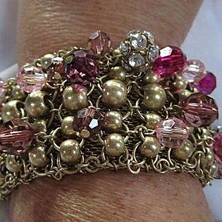 Fun Wide Mesh Cha Cha Dangling Purples Lavender Crystal Rondelette Vintage Bracelet