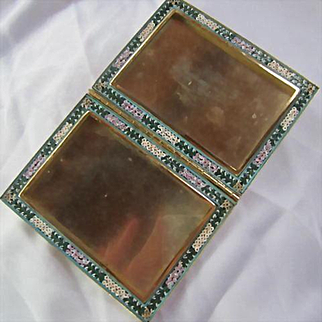 Beautiful Micro Mosaic Vintage Double Picture Frame Signed Italy