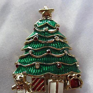 Signed Monet Bright Enamel Swarovski Crystals Christmas Tree Teddy Bear Presents Vintage Brooch Pin