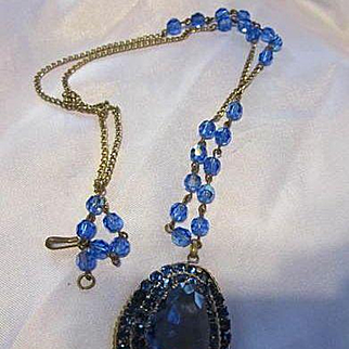 Stunning Czech Huge Cornflower Blue fx Sapphire Austrian Crystal Tiered Pendant Blue AB Crystal Gold tone chain Vintage Necklace