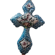 Lovely Blue Persian Hand Painted Enamel Cross Vintage Necklace