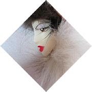 Signed Art Deco Style Lady Real Fur Hand Shin Fur Co Vintage Brooch Pin