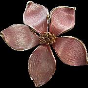 Gorgeous Signed Marvella Pink Enamel Dogwood Flower Vintage Brooch Pin