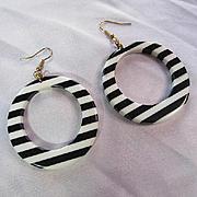 Huge Mod Black White Lucite Striped Hoop Dangling Vintage Statement Earrings