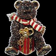 Signed St John Swarovski Christmas Teddy Bear Collectible Brooch Pin