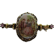 Victorian Revival Limoges Courting Couple Vintage Bar Pin Brooch