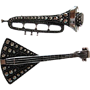 Great Set of Eloxal Art Deco Musical Instruments Figurals Signed Germany Vintage Brooches Pins