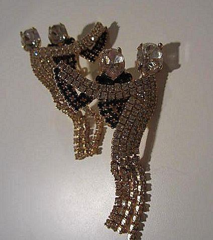 Fabulous Quality Dancing Couple Swarovski Crystal Long Fringe Vintage Clip Earrings