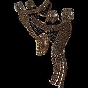 Fabulous Quality Dancing Couple Swarovski Crystal Long Fringe Vintage Clip Earrings