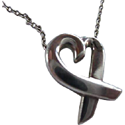 Tiffany & Co Authentic Signed Paloma Picasso Loving Heart Pendant Sterling Silver Small Size 16 inch chain Vintage Designer Necklace