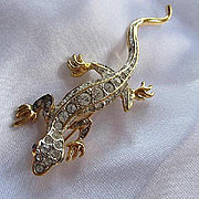 Wonderful Signed Lizard Figural Clear Crystal Rhinestones Blue Eyes  PS Co 1999 3.5 Inches Long Vintage Brooch Pin