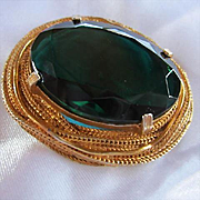 Rare Sellini Signed Huge Oval Faceted Emerald Green Huge Glass Crystal Mid Century Modernist Foxtail Frame Vintage Brooch Pin