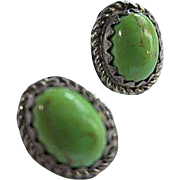 Signed Native American Green Turquoise Sterling Silver Artists Initial Vintage Petite Post Earrings