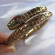 Whiting & Davis Scaled Snake Wrap Ruby Red Rhinestone Eyes Vintage Bracelet