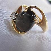 Lovely 14K Gold Genuine Brown Sapphire Diamond Mid Century Modernist Design Vintage Ring Size 6