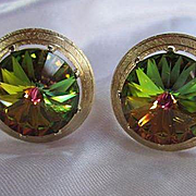 Spectacular Signed Dante Rivoli Watermelon Points Up Vintage Gold plated Cufflinks Mint