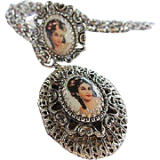Gorgeous Limoges Woman's Portrait Hand Painted Pearls Silver tone Locket Matching Ring Vintage Set