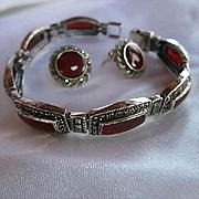 Gorgeous Carnelian Marcasite Sterling Silver Bracelet Pierced Earrings Vintage Set