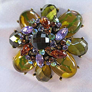 Fabulous High Layered Faceted Green Glass Oval Yellow Cabochons Purple Topaz Navettes AB Crystals Flower Vintage Statement Brooch Pin