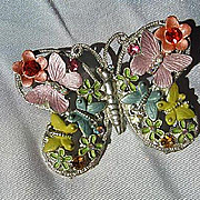Colorful Enamel Butterfly Figural Adorned Butterflies Flowers Sparkling Rhinestones Vintage Brooch Pin