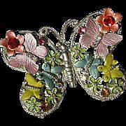 Colorful Enamel Butterfly Figural Adorned Butterflies Flowers Sparkling Rhinestones Vintage Brooch Pin